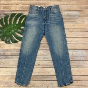 Zara reconstructed vintage high rise tapered jeans